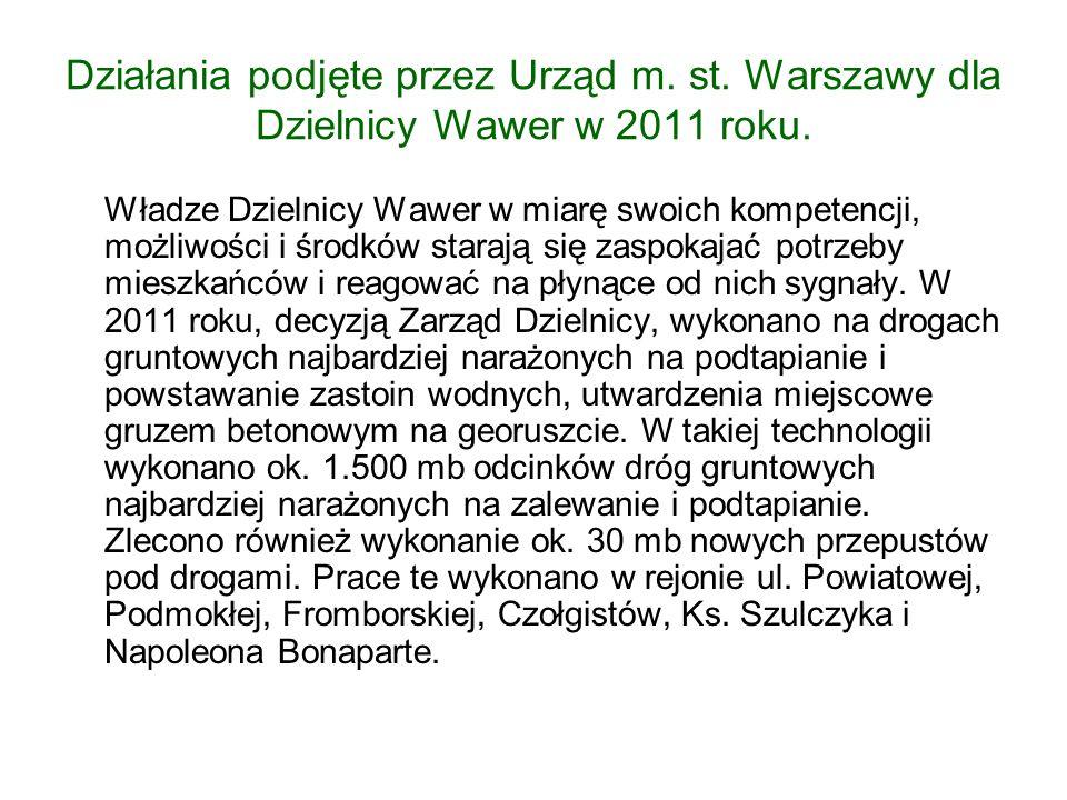 Działania podjęte przez Urząd m. st. Warszawy dla Dzielnicy Wawer w 2011 roku.