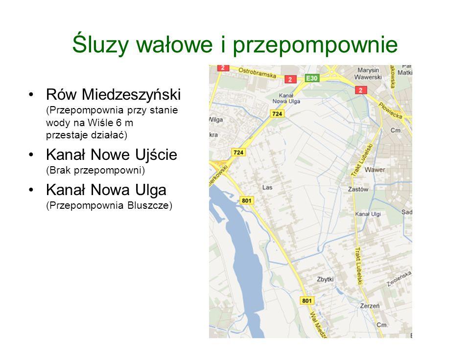 Śluzy wałowe i przepompownie Rów Miedzeszyński (Przepompownia przy stanie wody na Wiśle 6 m przestaje działać) Kanał Nowe Ujście (Brak przepompowni) Kanał Nowa Ulga (Przepompownia Bluszcze)