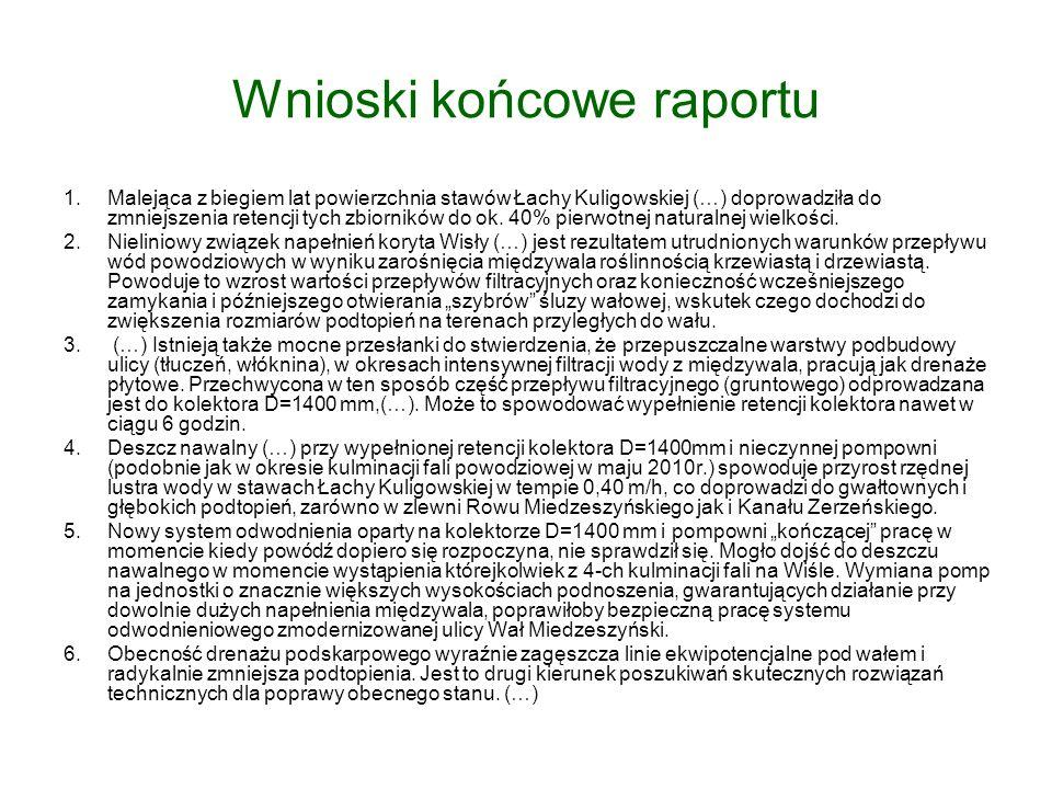 Wnioski końcowe raportu 1.Malejąca z biegiem lat powierzchnia stawów Łachy Kuligowskiej (…) doprowadziła do zmniejszenia retencji tych zbiorników do ok.