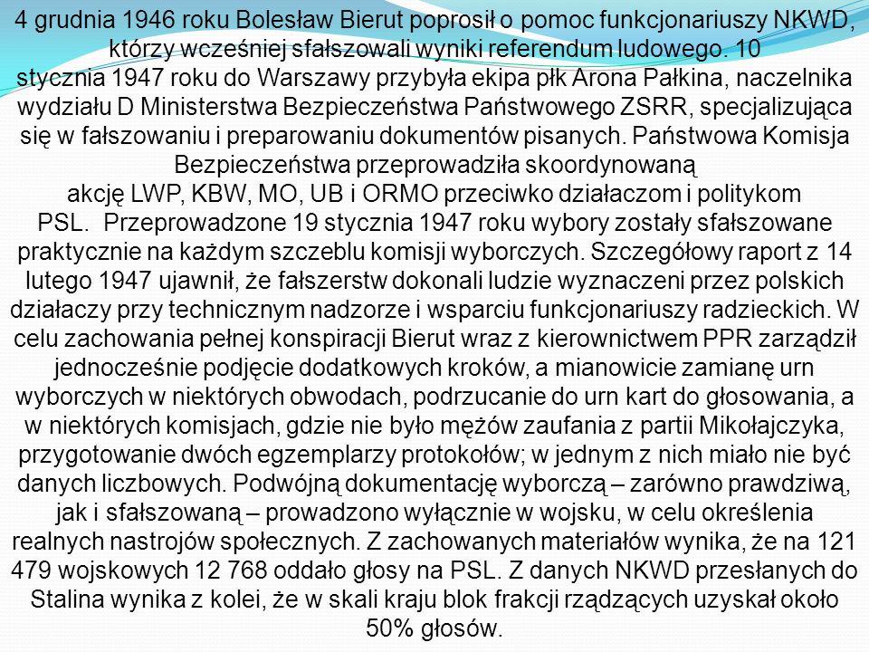4 grudnia 1946 roku Bolesław Bierut poprosił o pomoc funkcjonariuszy NKWD, którzy wcześniej sfałszowali wyniki referendum ludowego.