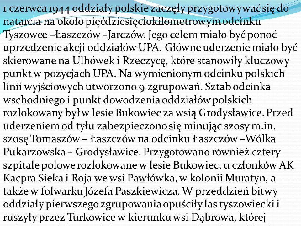 1 czerwca 1944 oddziały polskie zaczęły przygotowywać się do natarcia na około pięćdziesięciokilometrowym odcinku Tyszowce –Łaszczów –Jarczów.