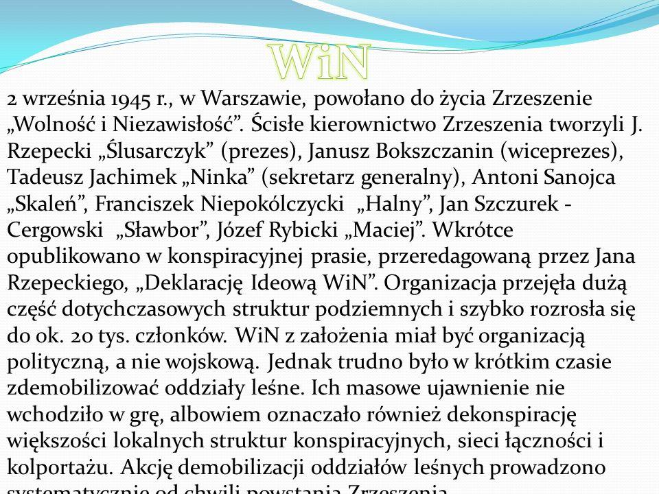 """2 września 1945 r., w Warszawie, powołano do życia Zrzeszenie """"Wolność i Niezawisłość ."""