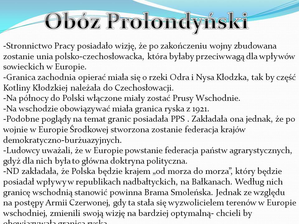 -Stronnictwo Pracy posiadało wizję, że po zakończeniu wojny zbudowana zostanie unia polsko-czechosłowacka, która byłaby przeciwwagą dla wpływów sowieckich w Europie.