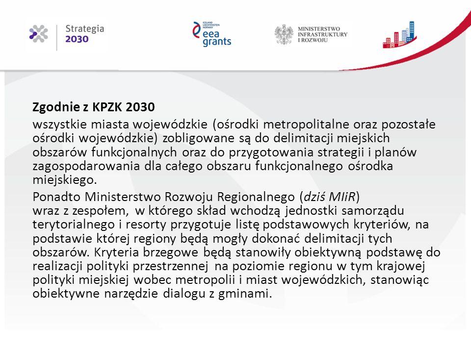 Zgodnie z KPZK 2030 wszystkie miasta wojewódzkie (ośrodki metropolitalne oraz pozostałe ośrodki wojewódzkie) zobligowane są do delimitacji miejskich obszarów funkcjonalnych oraz do przygotowania strategii i planów zagospodarowania dla całego obszaru funkcjonalnego ośrodka miejskiego.