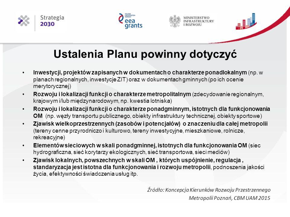 Ustalenia Planu powinny dotyczyć Inwestycji, projektów zapisanych w dokumentach o charakterze ponadlokalnym (np.