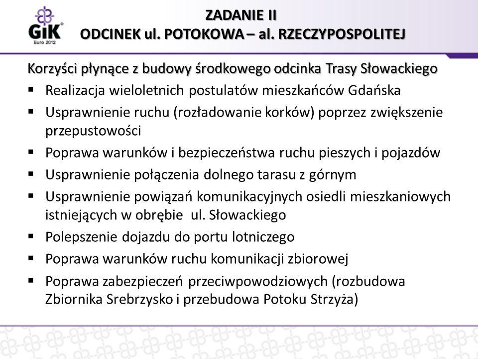 Zakres zadania II – odcinek ul.Potokowa – al. Rzeczypospolitej tory kolejowe Ul.