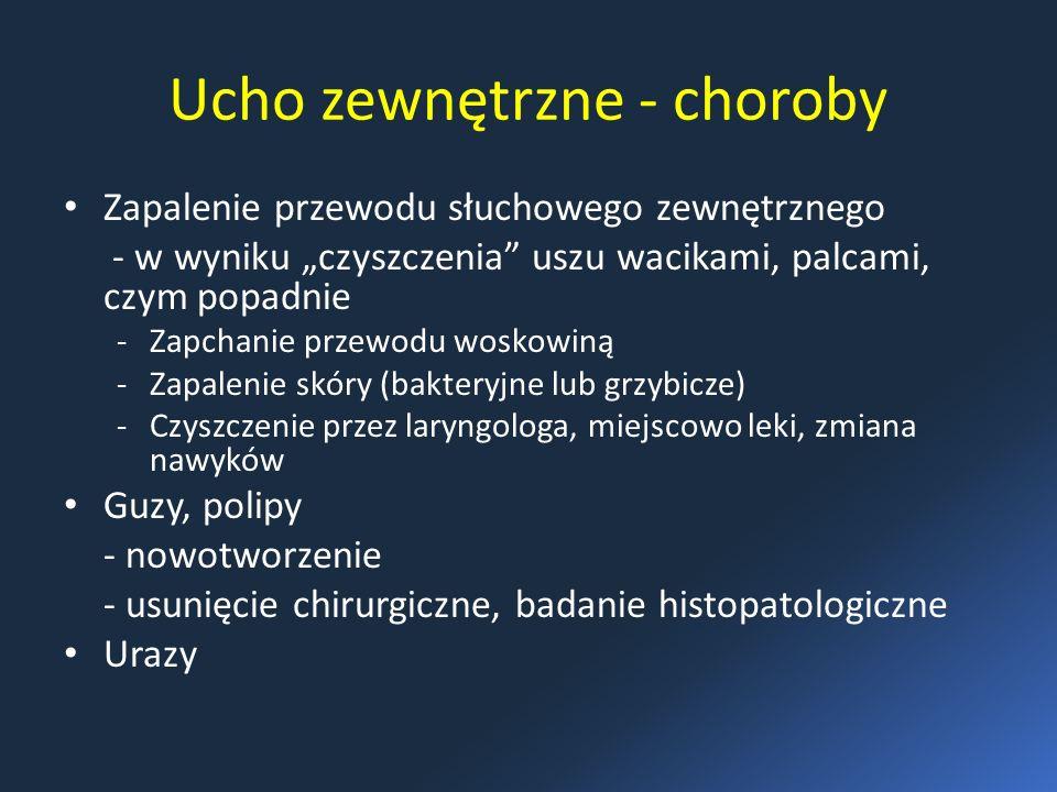 """Ucho zewnętrzne - choroby Zapalenie przewodu słuchowego zewnętrznego - w wyniku """"czyszczenia uszu wacikami, palcami, czym popadnie -Zapchanie przewodu woskowiną -Zapalenie skóry (bakteryjne lub grzybicze) -Czyszczenie przez laryngologa, miejscowo leki, zmiana nawyków Guzy, polipy - nowotworzenie - usunięcie chirurgiczne, badanie histopatologiczne Urazy"""