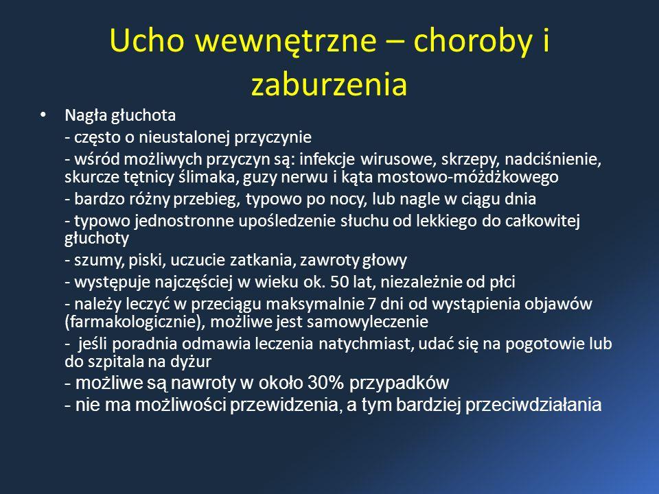 Ucho wewnętrzne – choroby i zaburzenia Nagła głuchota - często o nieustalonej przyczynie - wśród możliwych przyczyn są: infekcje wirusowe, skrzepy, nadciśnienie, skurcze tętnicy ślimaka, guzy nerwu i kąta mostowo-móżdżkowego - bardzo różny przebieg, typowo po nocy, lub nagle w ciągu dnia - typowo jednostronne upośledzenie słuchu od lekkiego do całkowitej głuchoty - szumy, piski, uczucie zatkania, zawroty głowy - występuje najczęściej w wieku ok.