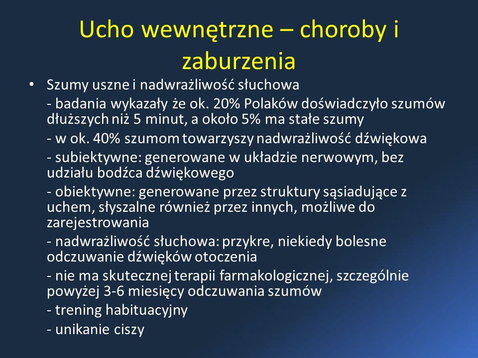Ucho wewnętrzne – choroby i zaburzenia Szumy uszne i nadwrażliwość słuchowa - badania wykazały że ok. 20% Polaków doświadczyło szumów dłuższych niż 5