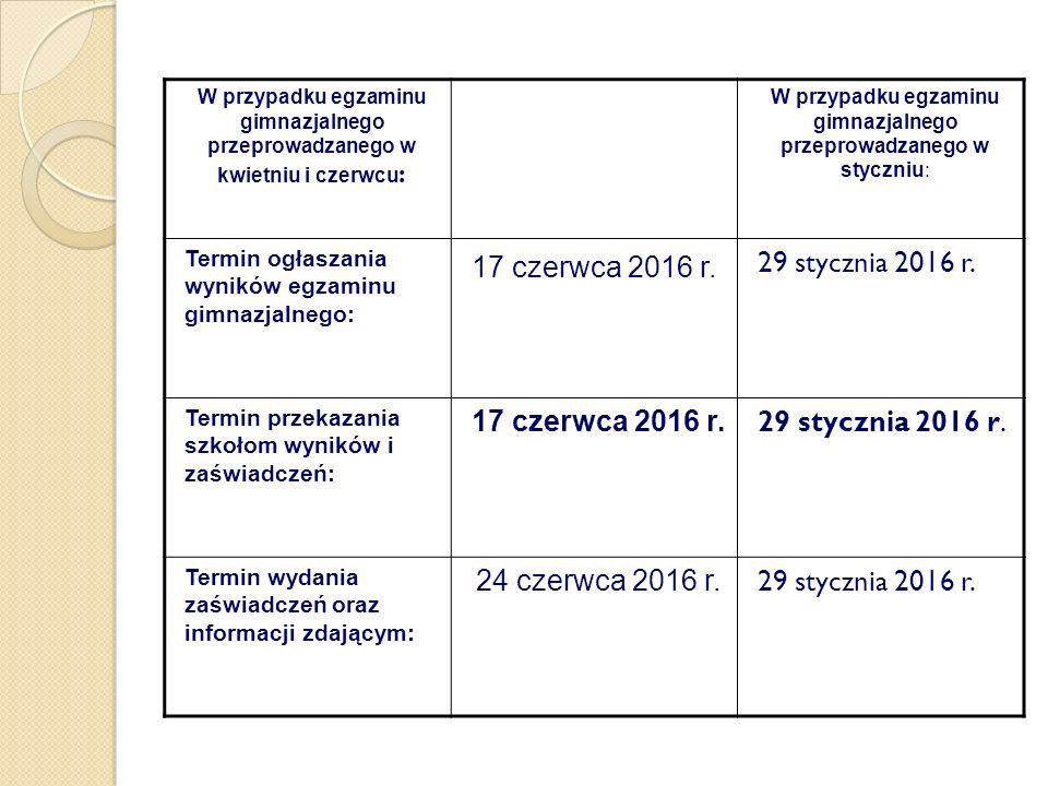 W przypadku egzaminu gimnazjalnego przeprowadzanego w kwietniu i czerwcu : W przypadku egzaminu gimnazjalnego przeprowadzanego w styczniu: Termin ogła