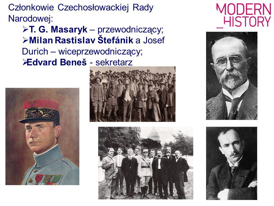 Członkowie Czechosłowackiej Rady Narodowej:  T. G. Masaryk – przewodniczący;  Milan Rastislav Štefánik a Josef Durich – wiceprzewodniczący;  Edvard