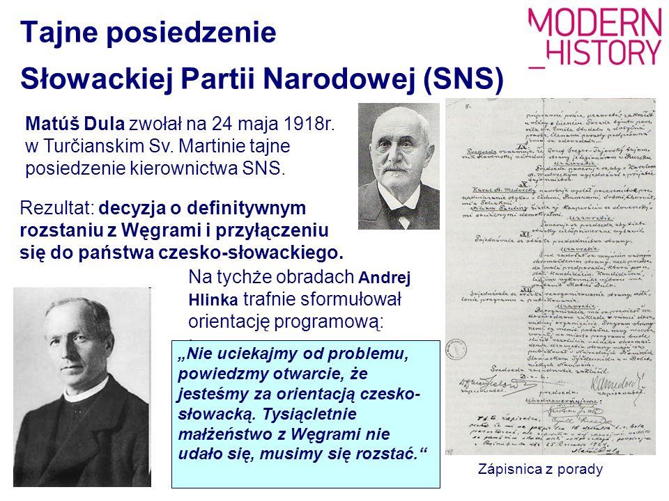 Tajne posiedzenie Słowackiej Partii Narodowej (SNS) Matúš Dula zwołał na 24 maja 1918r. w Turčianskim Sv. Martinie tajne posiedzenie kierownictwa SNS.