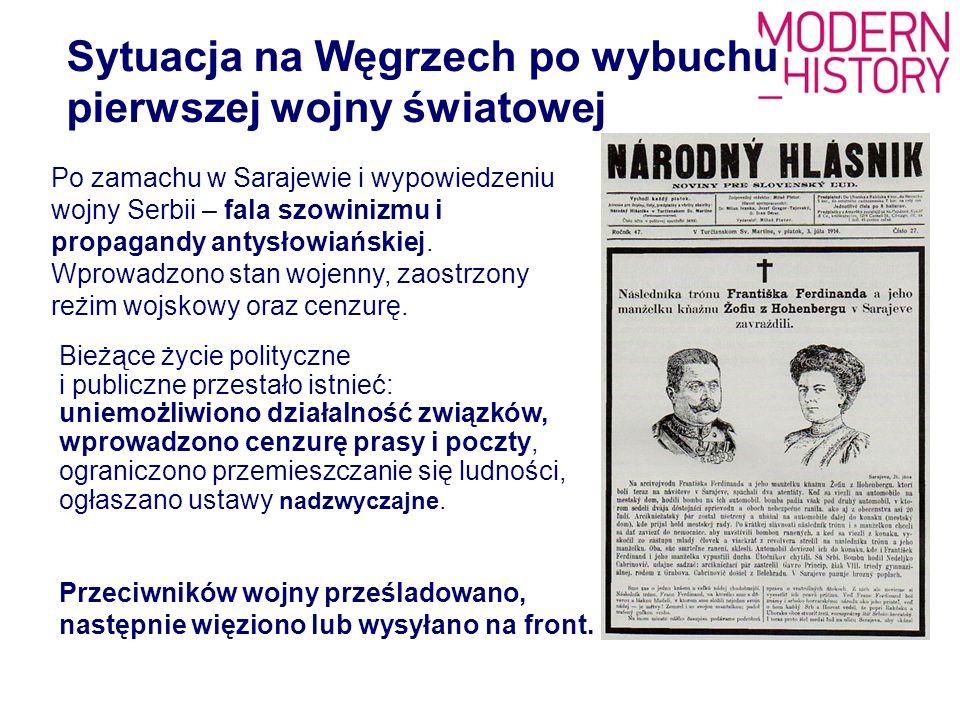 Sytuacja na Węgrzech po wybuchu pierwszej wojny światowej Bieżące życie polityczne i publiczne przestało istnieć: uniemożliwiono działalność związków,