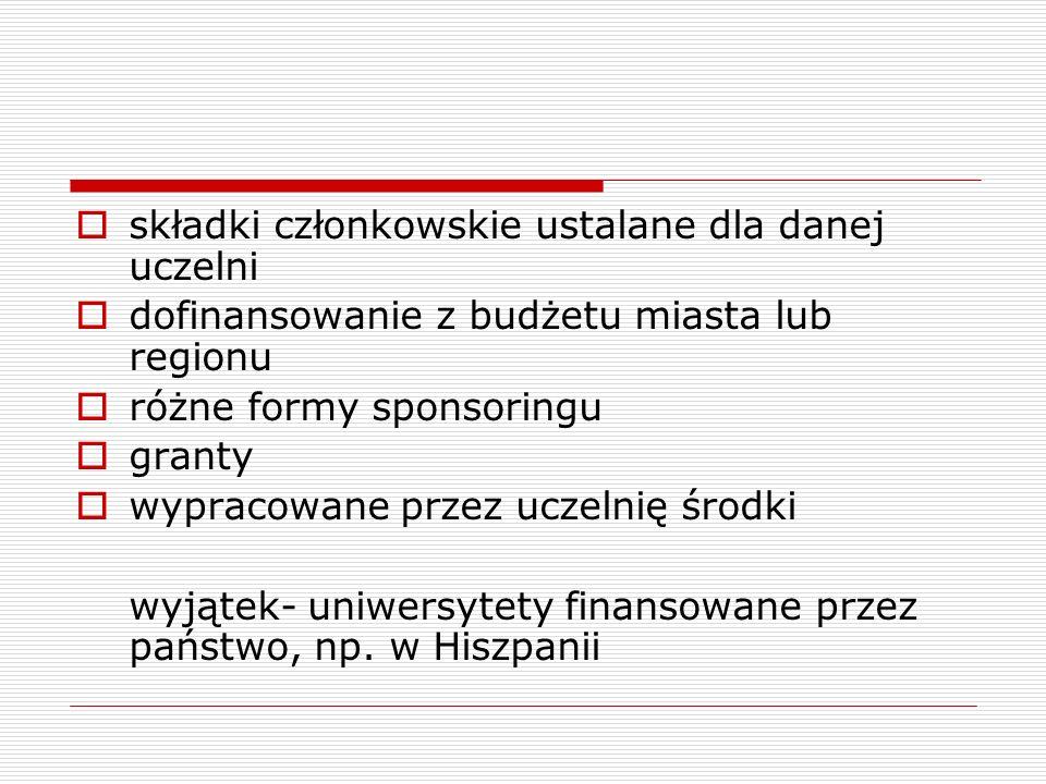  składki członkowskie ustalane dla danej uczelni  dofinansowanie z budżetu miasta lub regionu  różne formy sponsoringu  granty  wypracowane przez uczelnię środki wyjątek- uniwersytety finansowane przez państwo, np.