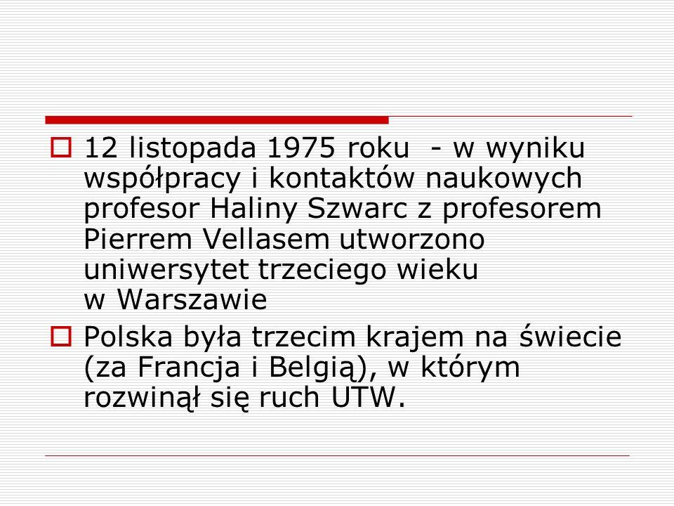  12 listopada 1975 roku - w wyniku współpracy i kontaktów naukowych profesor Haliny Szwarc z profesorem Pierrem Vellasem utworzono uniwersytet trzeciego wieku w Warszawie  Polska była trzecim krajem na świecie (za Francja i Belgią), w którym rozwinął się ruch UTW.