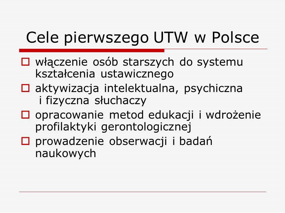 Cele pierwszego UTW w Polsce  włączenie osób starszych do systemu kształcenia ustawicznego  aktywizacja intelektualna, psychiczna i fizyczna słuchaczy  opracowanie metod edukacji i wdrożenie profilaktyki gerontologicznej  prowadzenie obserwacji i badań naukowych