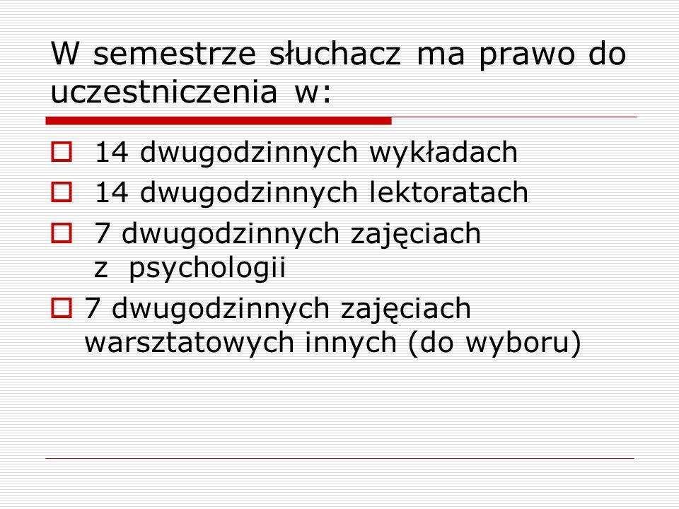W semestrze słuchacz ma prawo do uczestniczenia w:  14 dwugodzinnych wykładach  14 dwugodzinnych lektoratach  7 dwugodzinnych zajęciach z psychologii  7 dwugodzinnych zajęciach warsztatowych innych (do wyboru)