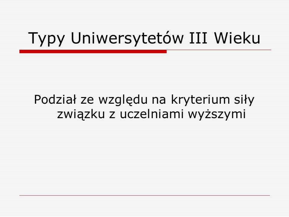 Typy Uniwersytetów III Wieku Podział ze względu na kryterium siły związku z uczelniami wyższymi