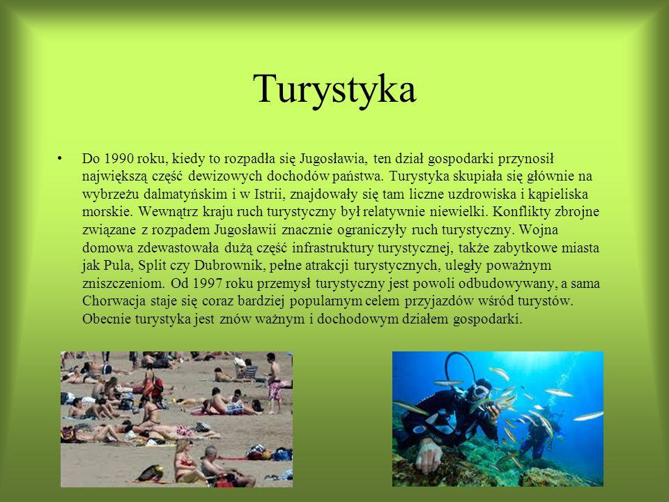 Turystyka Do 1990 roku, kiedy to rozpadła się Jugosławia, ten dział gospodarki przynosił największą część dewizowych dochodów państwa.