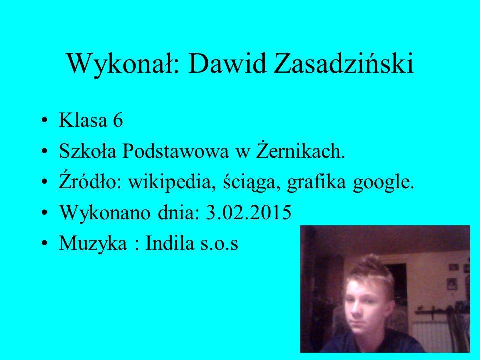 Wykonał: Dawid Zasadziński Klasa 6 Szkoła Podstawowa w Żernikach. Źródło: wikipedia, ściąga, grafika google. Wykonano dnia: 3.02.2015 Muzyka : Indila