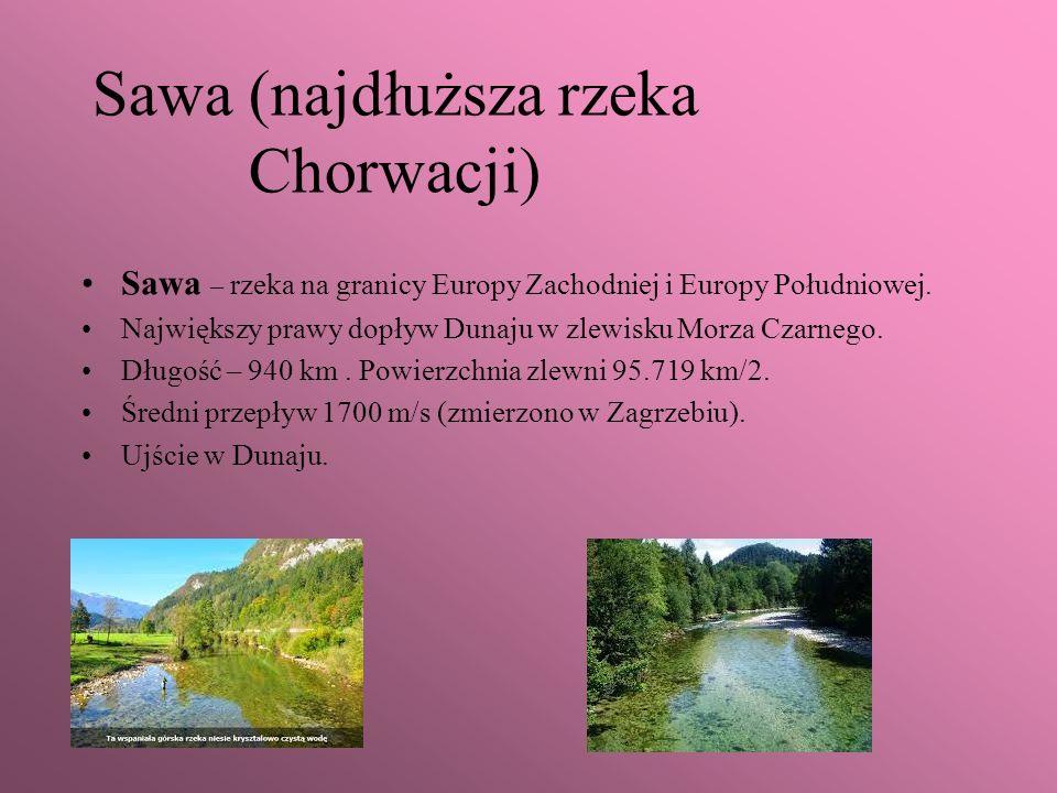 Sawa (najdłuższa rzeka Chorwacji) Sawa – rzeka na granicy Europy Zachodniej i Europy Południowej. Największy prawy dopływ Dunaju w zlewisku Morza Czar