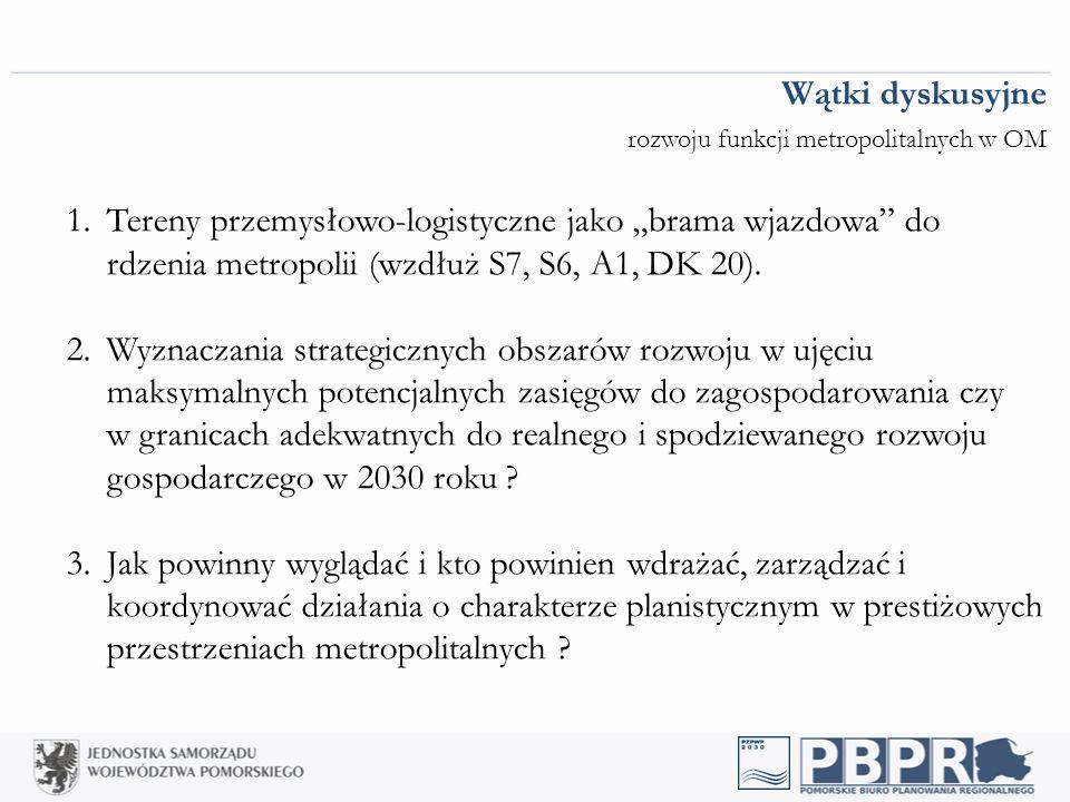 """Wątki dyskusyjne rozwoju funkcji metropolitalnych w OM 1.Tereny przemysłowo-logistyczne jako """"brama wjazdowa do rdzenia metropolii (wzdłuż S7, S6, A1, DK 20)."""