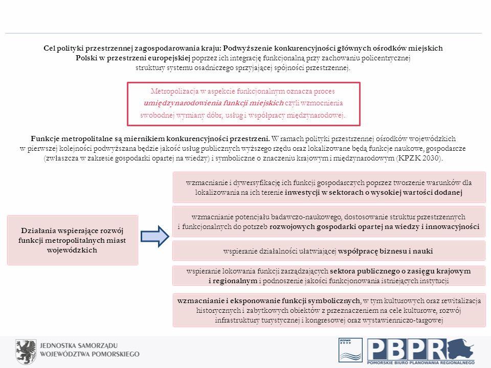 Cel polityki przestrzennej zagospodarowania kraju: Podwyższenie konkurencyjności głównych ośrodków miejskich Polski w przestrzeni europejskiej poprzez ich integrację funkcjonalną przy zachowaniu policentrycznej struktury systemu osadniczego sprzyjającej spójności przestrzennej.