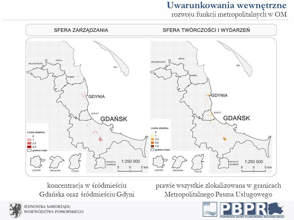 koncentracja w śródmieściu Gdańska oraz śródmieściu Gdyni prawie wszystkie zlokalizowana w granicach Metropolitalnego Pasma Usługowego