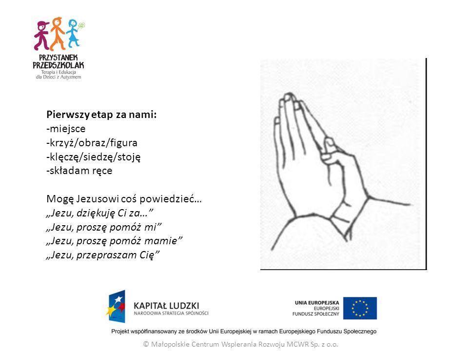 """Pierwszy etap za nami: -miejsce -krzyż/obraz/figura -klęczę/siedzę/stoję -składam ręce Mogę Jezusowi coś powiedzieć… """"Jezu, dziękuję Ci za… """"Jezu, proszę pomóż mi """"Jezu, proszę pomóż mamie """"Jezu, przepraszam Cię © Małopolskie Centrum Wspierania Rozwoju MCWR Sp."""