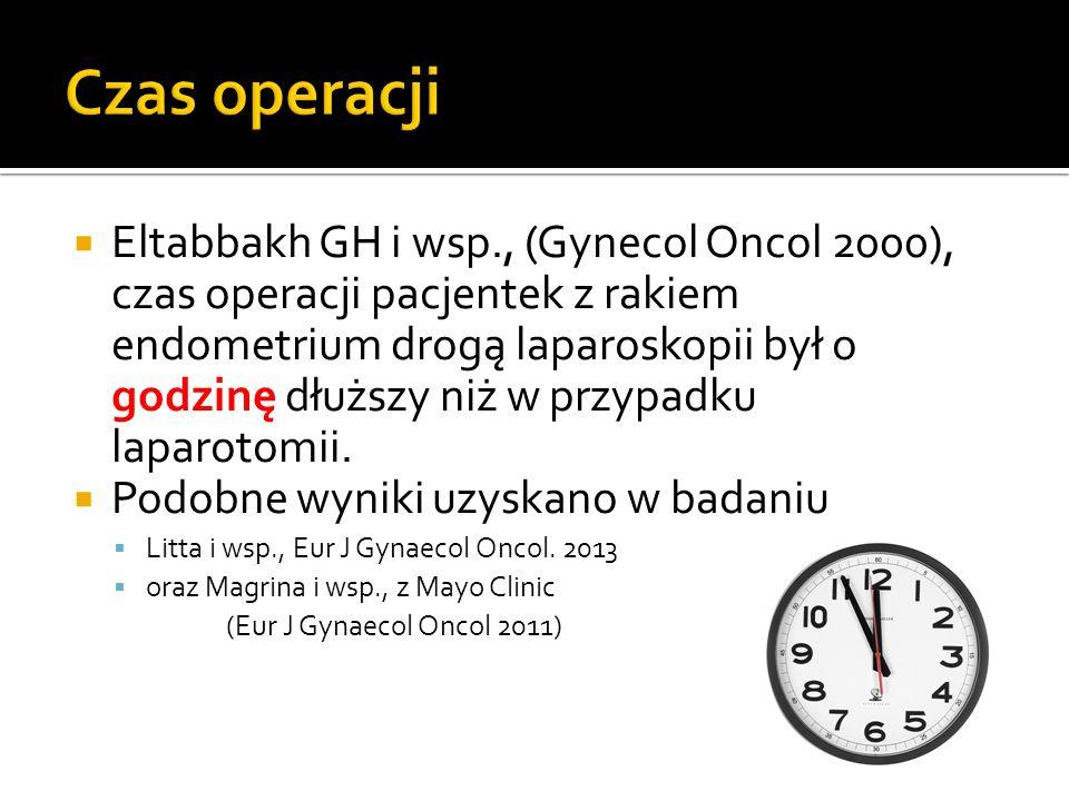  Eltabbakh GH i wsp., (Gynecol Oncol 2000), czas operacji pacjentek z rakiem endometrium drogą laparoskopii był o godzinę dłuższy niż w przypadku laparotomii.