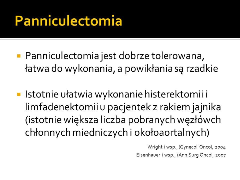  Panniculectomia jest dobrze tolerowana, łatwa do wykonania, a powikłania są rzadkie  Istotnie ułatwia wykonanie histerektomii i limfadenektomii u pacjentek z rakiem jajnika (istotnie większa liczba pobranych węzłówch chłonnych miedniczych i okołoaortalnych) Wright i wsp., (Gynecol Oncol, 2004 Eisenhauer i wsp., (Ann Surg Oncol, 2007