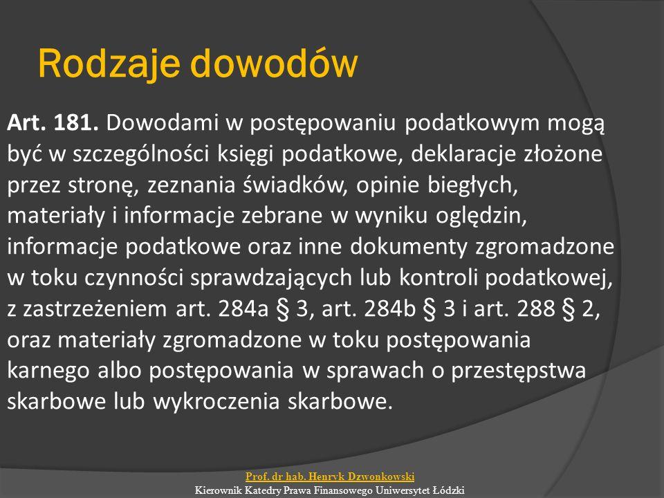 Rodzaje dowodów Art. 181.