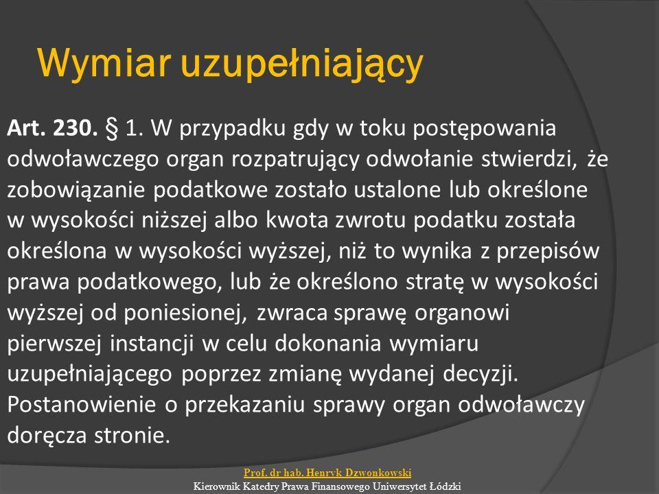 Wymiar uzupełniający Art. 230. § 1.