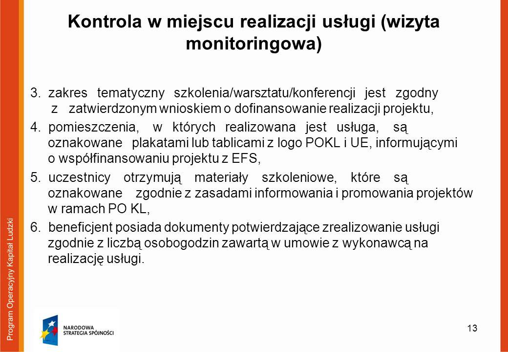 Kontrola w miejscu realizacji usługi (wizyta monitoringowa) 3.