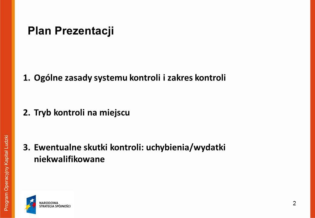 2 Plan Prezentacji 1.Ogólne zasady systemu kontroli i zakres kontroli 2.Tryb kontroli na miejscu 3.Ewentualne skutki kontroli: uchybienia/wydatki niekwalifikowane