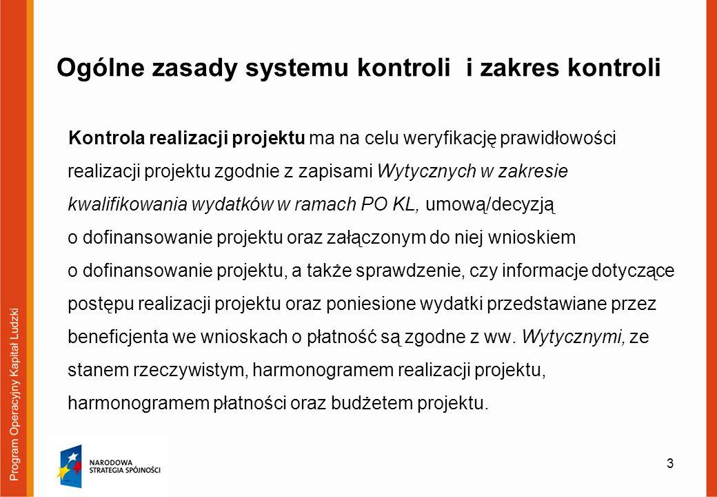 System kontroli Na system kontroli składa się: 1.kontrola dokumentacji dostępnej w siedzibie instytucji kontrolującej 2.Kontrola na miejscu projektu 4