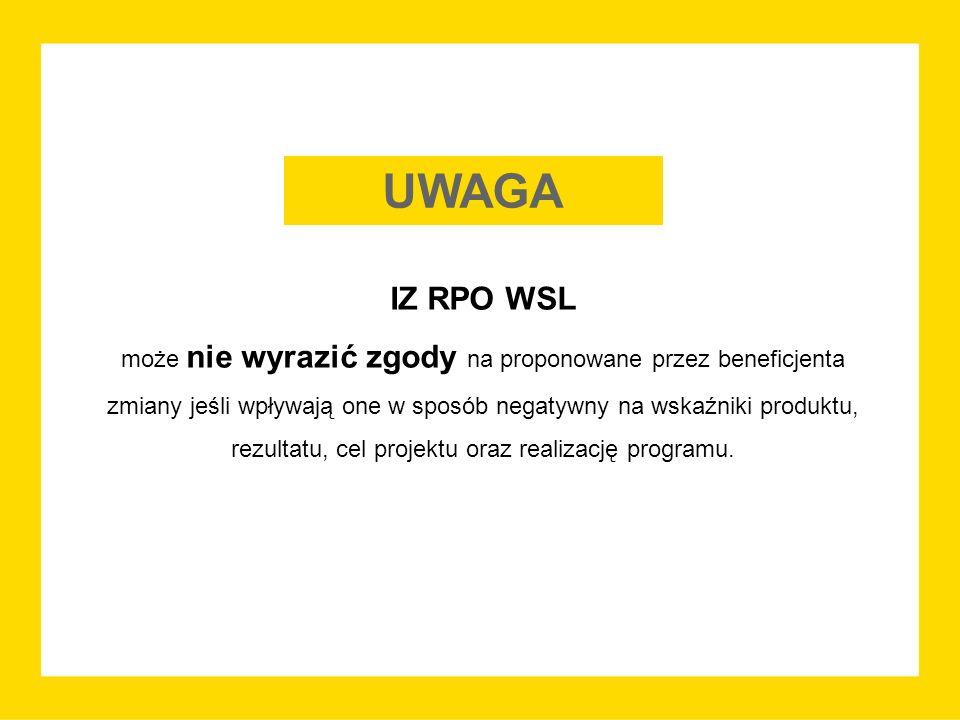 IZ RPO WSL może nie wyrazić zgody na proponowane przez beneficjenta zmiany jeśli wpływają one w sposób negatywny na wskaźniki produktu, rezultatu, cel projektu oraz realizację programu.