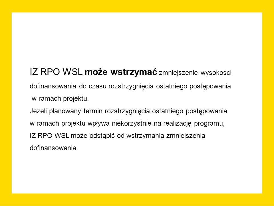 IZ RPO WSL może wstrzymać zmniejszenie wysokości dofinansowania do czasu rozstrzygnięcia ostatniego postępowania w ramach projektu.