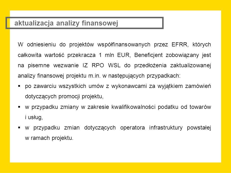 W odniesieniu do projektów współfinansowanych przez EFRR, których całkowita wartość przekracza 1 mln EUR, Beneficjent zobowiązany jest na pisemne wezwanie IZ RPO WSL do przedłożenia zaktualizowanej analizy finansowej projektu m.in.