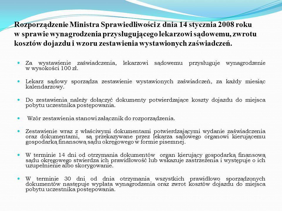 Rozporządzenie Ministra Sprawiedliwości z dnia 14 stycznia 2008 roku w sprawie wynagrodzenia przysługującego lekarzowi sądowemu, zwrotu kosztów dojazdu i wzoru zestawienia wystawionych zaświadczeń.