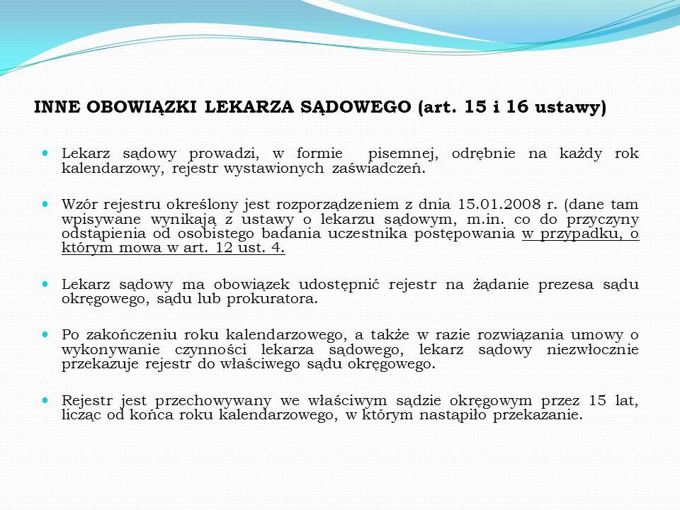 INNE OBOWIĄZKI LEKARZA SĄDOWEGO (art.