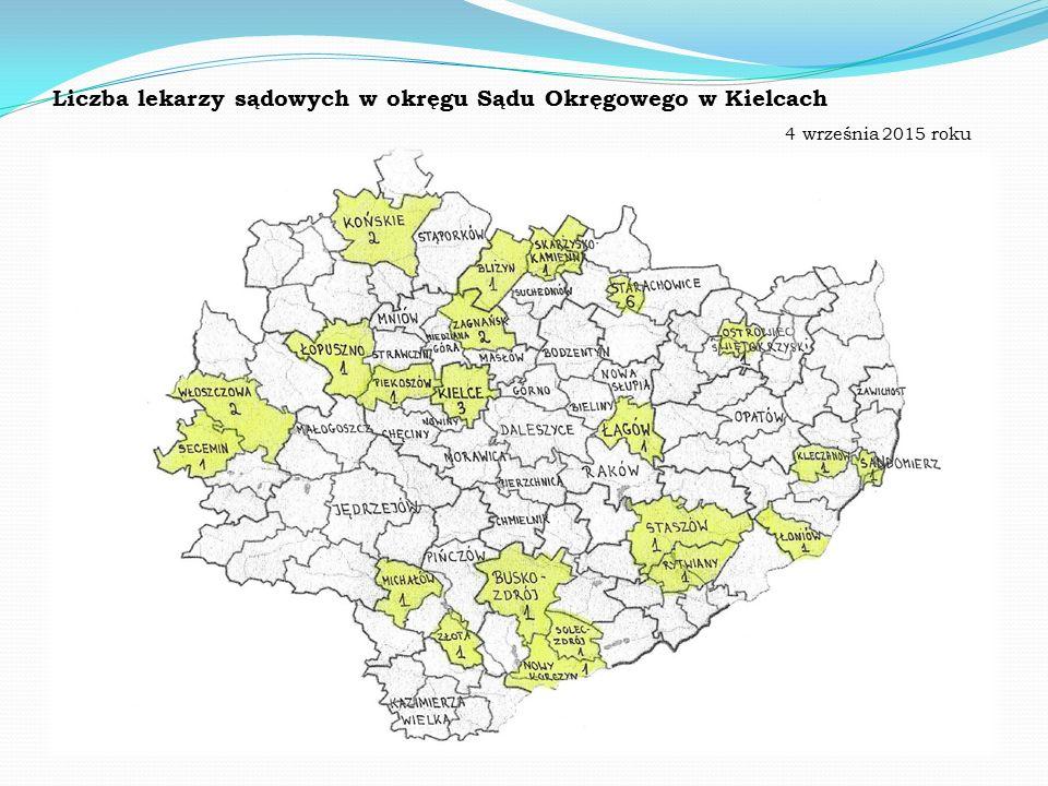 Liczba lekarzy sądowych w okręgu Sądu Okręgowego w Kielcach 4 września 2015 roku