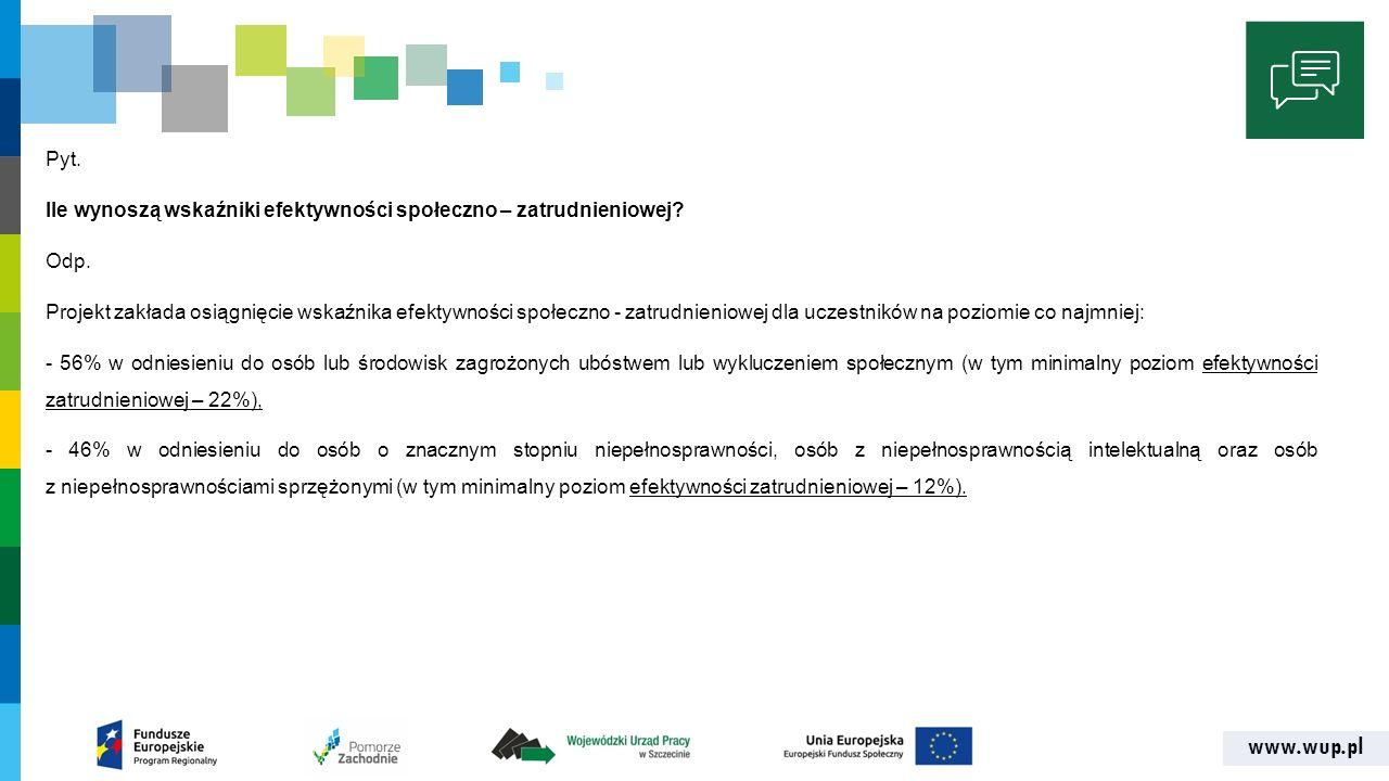 www.wup.pl Pyt. Ile wynoszą wskaźniki efektywności społeczno – zatrudnieniowej.