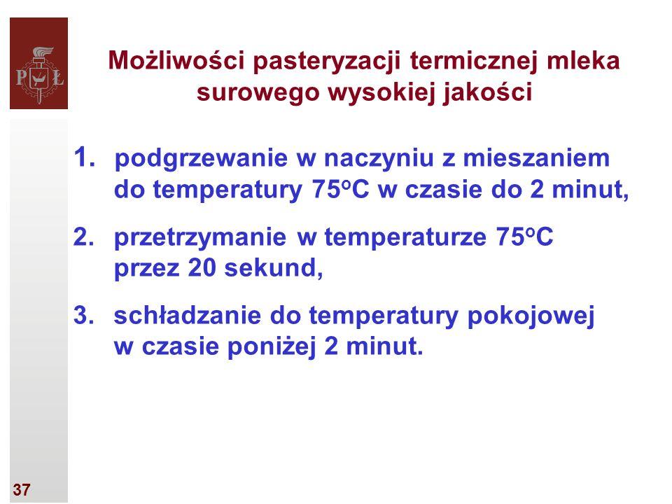 37 Możliwości pasteryzacji termicznej mleka surowego wysokiej jakości 1.