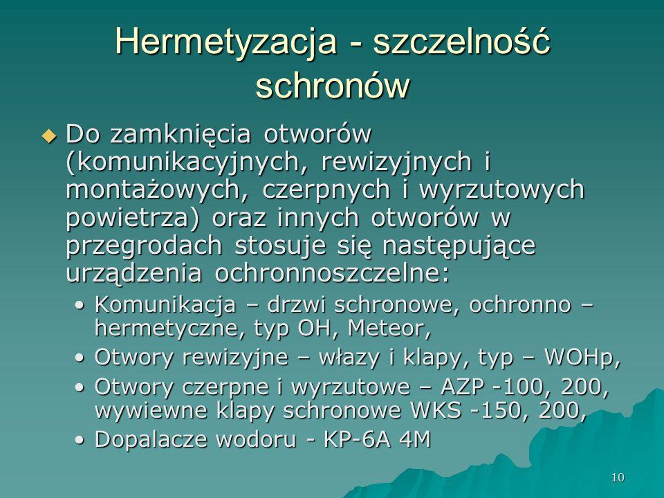 10 Hermetyzacja - szczelność schronów  Do zamknięcia otworów (komunikacyjnych, rewizyjnych i montażowych, czerpnych i wyrzutowych powietrza) oraz innych otworów w przegrodach stosuje się następujące urządzenia ochronnoszczelne: Komunikacja – drzwi schronowe, ochronno – hermetyczne, typ OH, Meteor,Komunikacja – drzwi schronowe, ochronno – hermetyczne, typ OH, Meteor, Otwory rewizyjne – włazy i klapy, typ – WOHp,Otwory rewizyjne – włazy i klapy, typ – WOHp, Otwory czerpne i wyrzutowe – AZP -100, 200, wywiewne klapy schronowe WKS -150, 200,Otwory czerpne i wyrzutowe – AZP -100, 200, wywiewne klapy schronowe WKS -150, 200, Dopalacze wodoru - KP-6A 4MDopalacze wodoru - KP-6A 4M