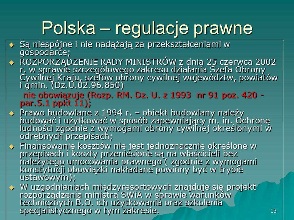 13 Polska – regulacje prawne  Są niespójne i nie nadążają za przekształceniami w gospodarce;  ROZPORZĄDZENIE RADY MINISTRÓW z dnia 25 czerwca 2002 r.