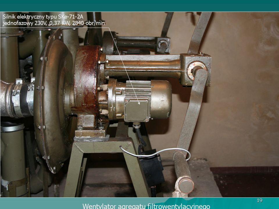 19 Silnik elektryczny typu SKe-71-2A jednofazowy 230V, 0,37 KW, 2840 obr/min Wentylator agregatu filtrowentylacyjnego