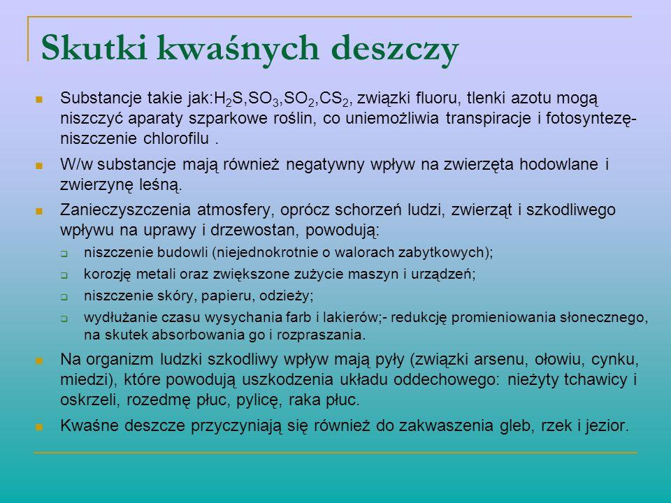 Skutki kwaśnych deszczy Substancje takie jak:H 2 S,SO 3,SO 2,CS 2, związki fluoru, tlenki azotu mogą niszczyć aparaty szparkowe roślin, co uniemożliwi