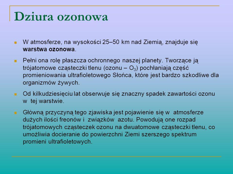 Dziura ozonowa W atmosferze, na wysokości 25–50 km nad Ziemią, znajduje się warstwa ozonowa. Pełni ona rolę płaszcza ochronnego naszej planety. Tworzą