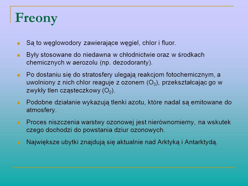 Freony Są to węglowodory zawierające węgiel, chlor i fluor. Były stosowane do niedawna w chłodnictwie oraz w środkach chemicznych w aerozolu (np. dezo